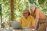 Senior couple on video call