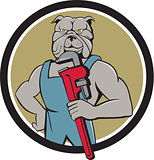 Bulldog Plumber Monkey Wrench Circle Cartoon