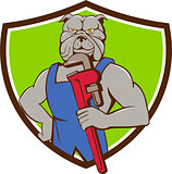 Bulldog Plumber Monkey Wrench Crest Cartoon