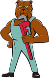 Bulldog Plumber Monkey Wrench Standing Cartoon