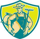 Organic Farmer Rake Sack Shield Woodcut