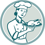 Female Chef Serving Chicken Roast Circle Retro