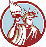 Statue of Liberty Holding Flaming Torch Circle Retro