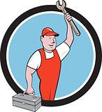 Mechanic Wrench Toolbox Circle Cartoon