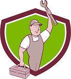 Mechanic Wrench Toolbox Crest Cartoon