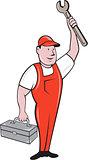 Mechanic Raising Wrench Holding Toolbox Cartoon