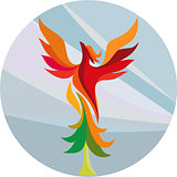 Phoenix Rising Burning Tree Circle Retro
