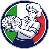 Pizza Chef Holding Pizza Italy Flag Circle Retro