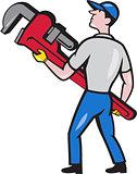 Plumber Carry Monkey Wrench Walking Cartoon