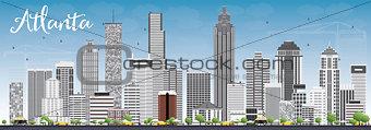 Atlanta Skyline with Gray Buildings and Blue Sky.