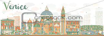Abstract Venice Skyline Silhouette with Color Buildings.