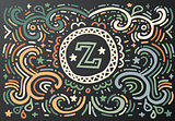 Letter Z. Hand drawn vintage print with decorative outline text.