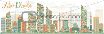 Abstract Abu Dhabi City Skyline with Color Buildings.