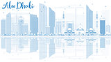 Outline Abu Dhabi City Skyline with Blue Buildings and Reflectio