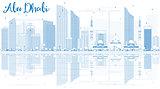 Outline Abu Dhabi City Skyline with Blue Buildings and Reflectio