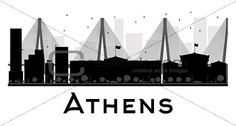 Athens City skyline black and white silhouette.
