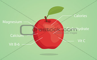apple nutrition illustration with list of nutritions detail