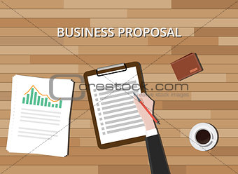 business proposal document with clipboard graph and wood background