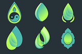 Set of drop and leaf vector icons on dark background.