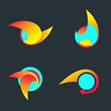 Flame and arrow abstract vector logo template.
