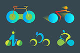 Bicycle abstract vector logo template.