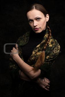 beautiful young woman in shawl