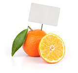 fresh orange fruit with blank price tag