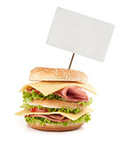 Big fast food sandwich with blank price tag