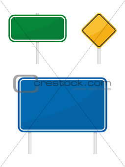 blank green blue yellow warging information road traffic signs isolated