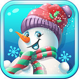 Icon jolly snowman in cap for computer game