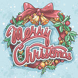 Merry Christmas greeting card with wreath