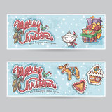 Merry Christmas greeting card horizontal banners