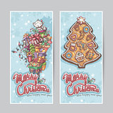 Merry Christmas greeting card vertical banners