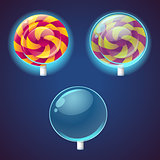 Sweets and candies colored vector icons set