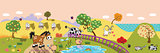 cartoon farm animals in the field banner
