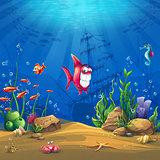 Underwater world with fish Vector illustration background