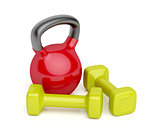Kettlebell and dumbbells
