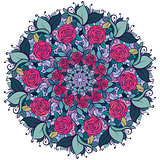 Kaleidoscopic floral pattern, mandala with roses and leaves  isolated on white background.