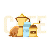 Coffee maker, coffee mill and milk.