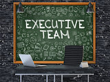 Chalkboard on the Office Wall with Executive Team Concept.