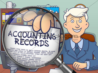 Accounting Records through Magnifying Glass. Doodle Design.