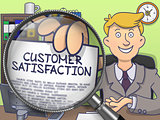 Customer Satisfaction through Magnifying Glass. Doodle Concept.