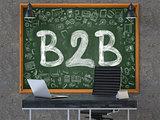 B2B on Chalkboard in the Office.