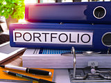 Blue Ring Binder with Inscription Portfolio.