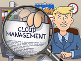 Cloud Management through Magnifying Glass. Doodle Style.