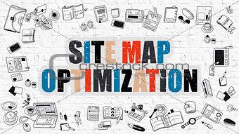 Site Map Optimization on White Brick Wall.