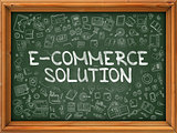 Green Chalkboard with Hand Drawn E-Commerce Solution.