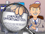 Corporate Opportunities through Magnifier. Doodle Style.