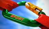 Sport on Green Carabiner between Red Ropes.