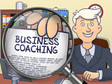 Business Coaching through Lens. Doodle Concept.